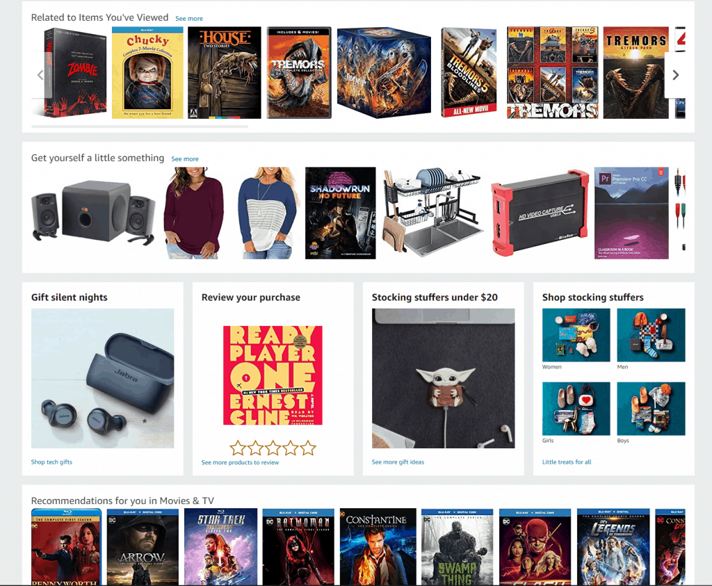 This is an image of my Amazon Home Page, minus any personal information