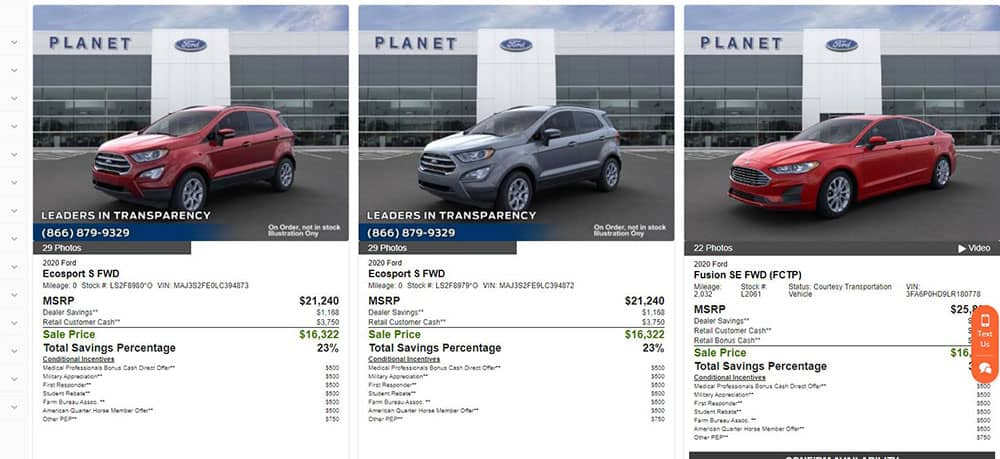 This iamge shows a car ad from Planet Ford, and shows how they market towards savings