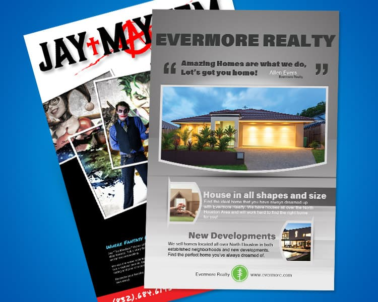 This is an image of two poester graphics we designed. One is for a realty company and the other a local photographer.